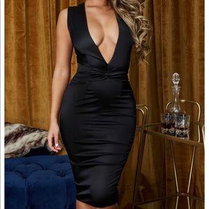 Make a statement plunge satan dress in black